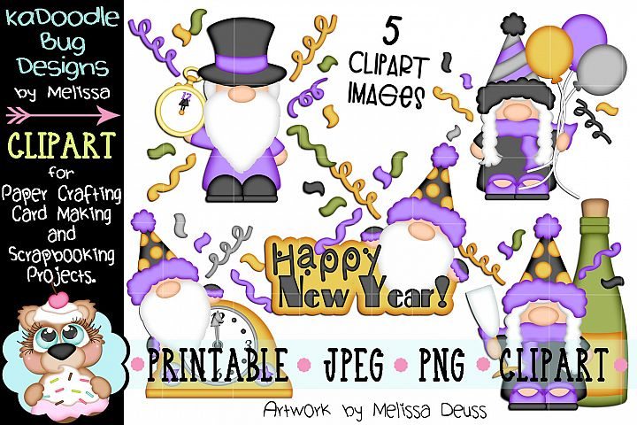 New Year Gnomes Clipart Bundle - 5 JPEG PNG Clipart Images