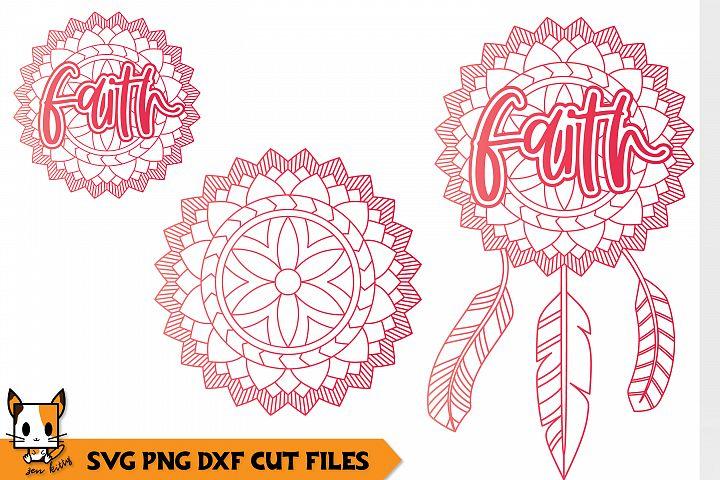 Faith - Boho Feather Dreamcatcher - Mandala SVG PNG DXF File