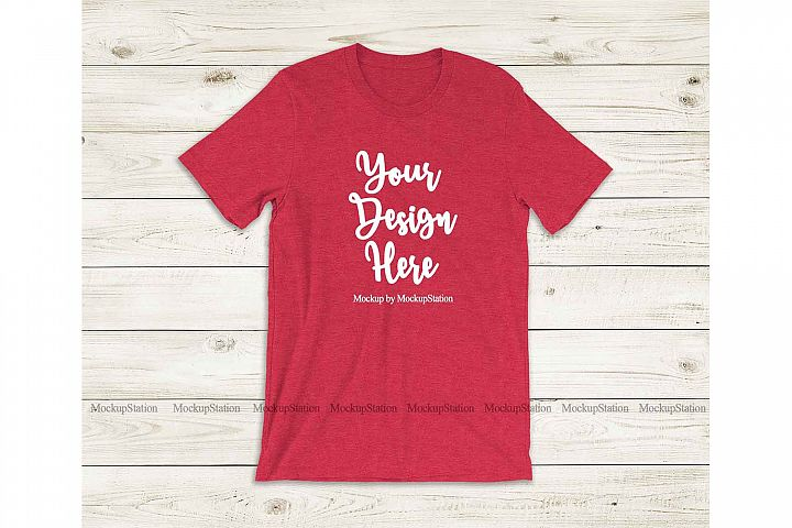 Bella Canvas 3001 Heather Red Tshirt Mockup Flat Lay