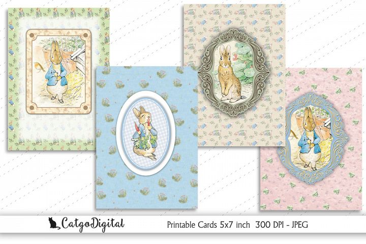 Peter Rabbit Printable Cards 5x7 inch Beatrix Potter