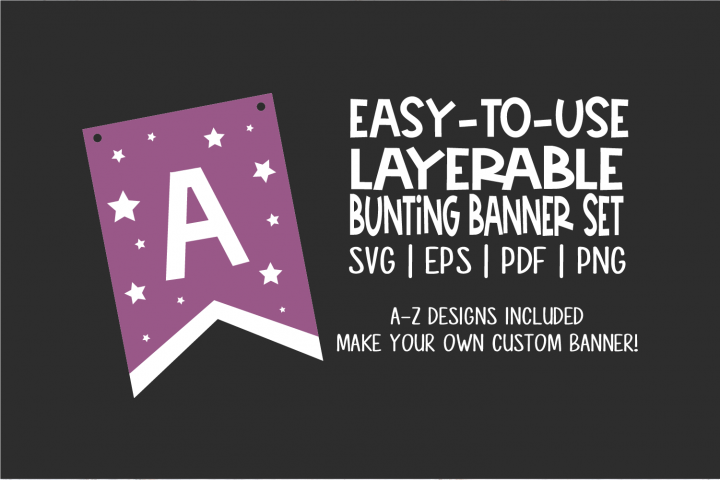 Bunting Banner Template - with star cut outs