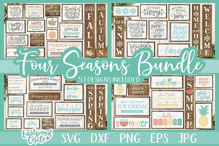 Four Seasons SVG Bundle - Spring, Summer, Fall, Winter Signs