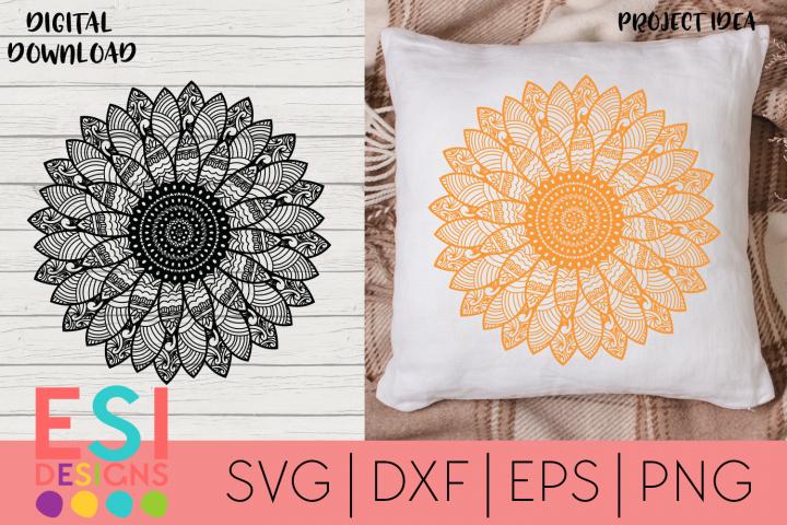 Sunflower Zentangle SVG   Paper Cutting Template
