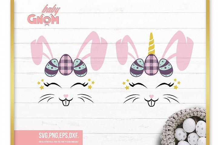Bunny Unicorn Svg, Easter Bunny Svg, Easter Svg, Bunny Face,