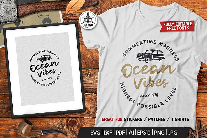 Ocean Vibes, Retro Surfing Print Design, T-Shirt SVG File