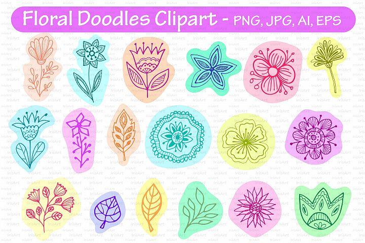 Flowers doodle clipart - Floral Folk Art, PNG, JPG, AI, EPS