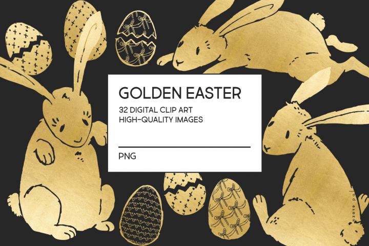 Gold Easter egg and Easter bunny clip art