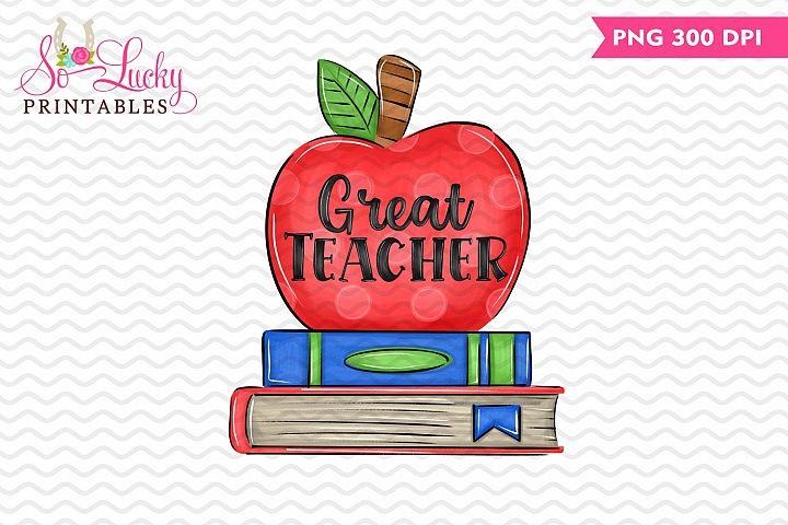 Great Teacher Apple and School Books sublimation design