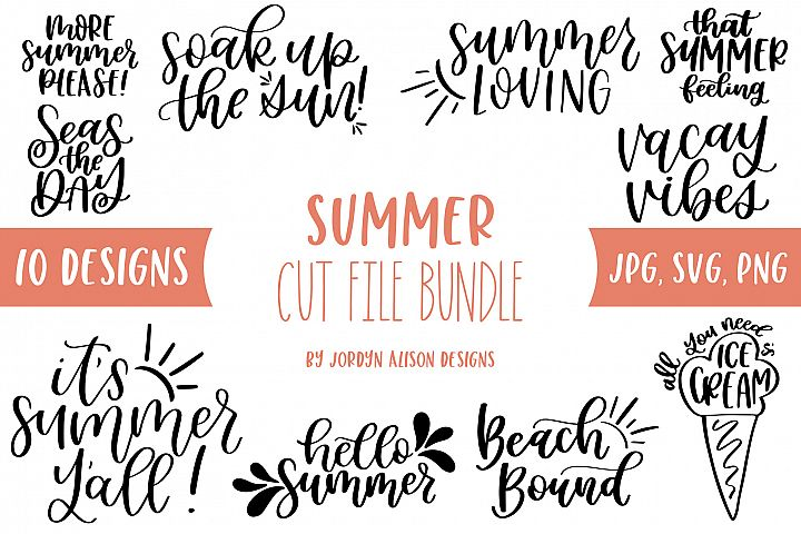 10 Summer SVG Bundle, Hand Lettered SVG Cut Files