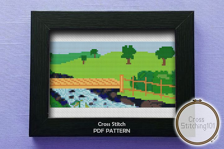Park Nature Cross Stitch Pattern - Instant Download PDF