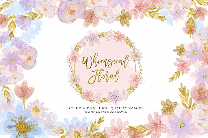 Pastel Floral Clipart,Whimsical winter Floral Clip Art