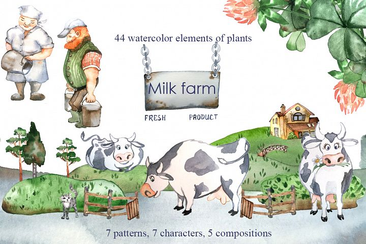 Dairy farm - set of watercolor