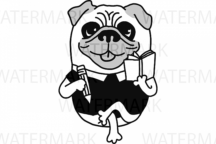 Pug Dog Writer Authoring a book very cute - SVG/JPG/PNG Hand Drawing