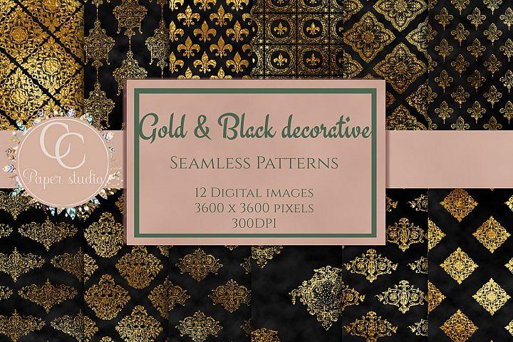 Gold and black damask digital paper