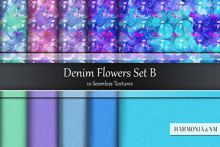 Denim Flowers Set B 10 Seamless Textures