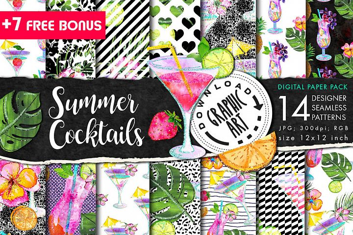 Summer Cocktails Seamless Pattern