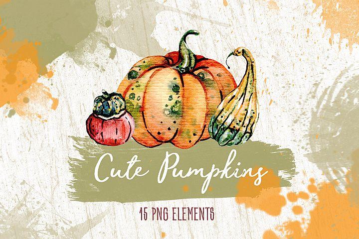 Watercolore Cute Pumpkins