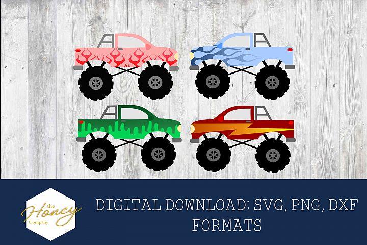 Monter Trucks SVG PNG DXF Bundle Kids Valentine Cut Files