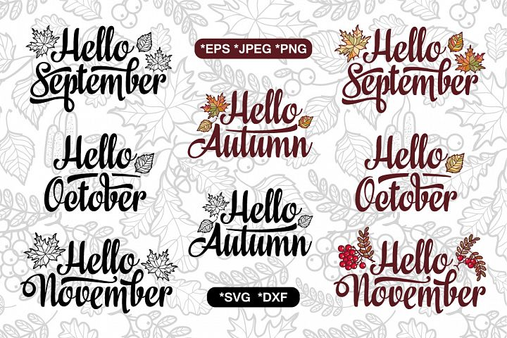 Autumn cutting file. Fall quote. Seamless pattern.