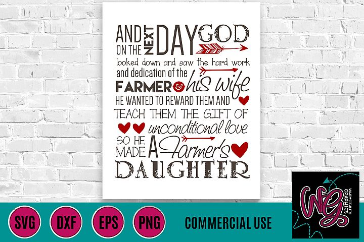 Farmers Daughter Saying SVG DXF PNG EPS Comm