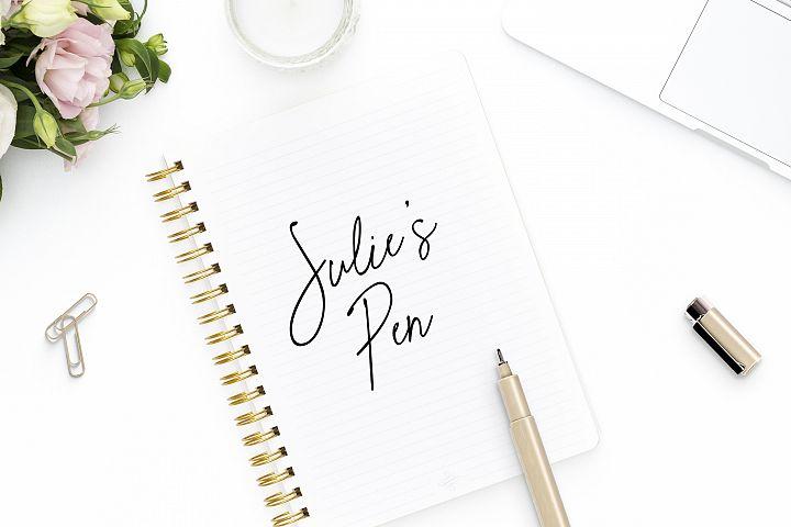 Julies Pen a hand written cursive script gel pen font