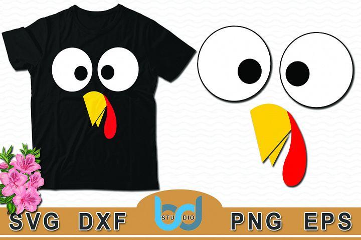 Turkey Face SVG, Turkey SVG, Turkey Tshirt Design.