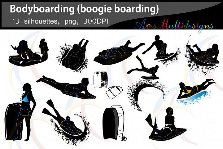 Bodyboarding silhouette SVG / boogie boarding silhouettte EPS / vector silhouette / water silhouette / surfer board vector