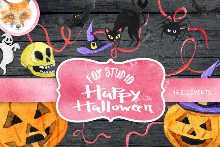 Halloween watercolor clipart, Autumn, Pumpkin, fall, holiday