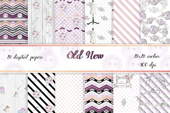 Vintage style Sewing Digital Papers. 12 papers with gold foil elements.