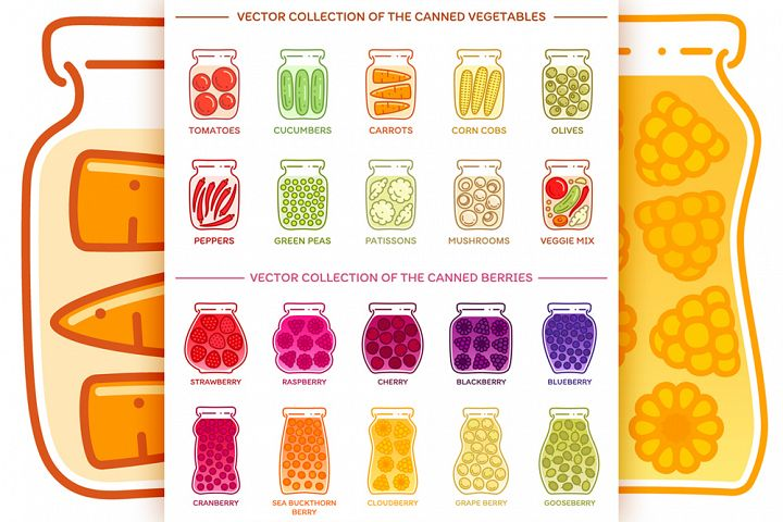 Vector set of canned vegetables and berries