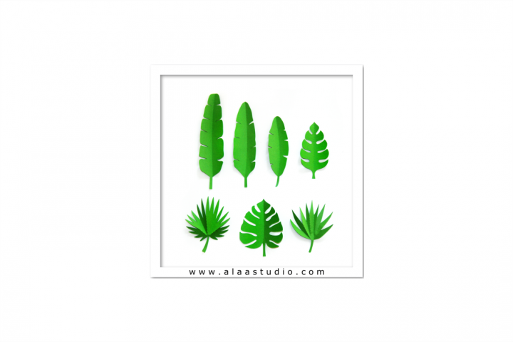 3D Large/ small tropical leaves, SVG, PDF, SILHOUETTE STUDIO Formats