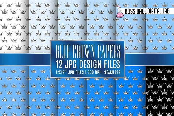 Seamless Blue and Silver Crown Papers