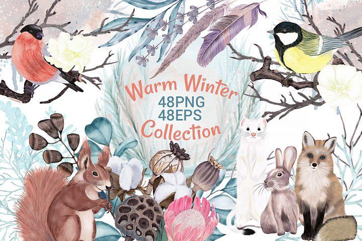 Winter flowers, wild animals and birds, forest.