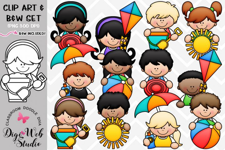 Clip Art / Illustrations - Summer Topper Kids