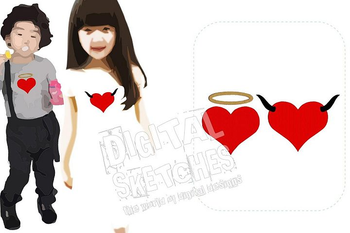 Angel and Devil Heart Machine Embroidery Design 4 Sizes