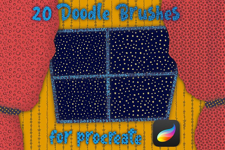 Brushes for Procreate with doodle pattern.