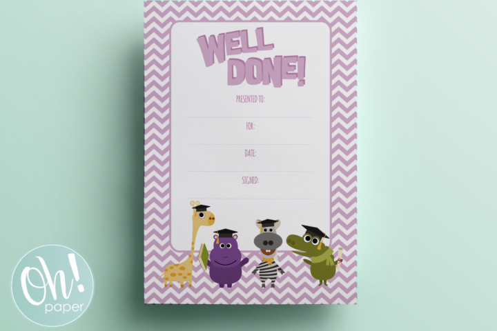 Well Done Certificate - Preschool Kindergarten - Printable