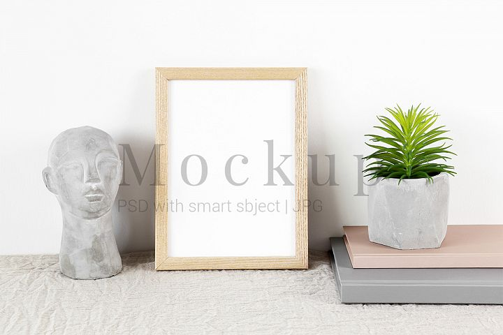 Beige Frame Mockup with Cement Head