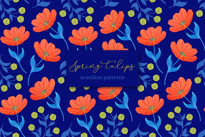 Spring tulips. Seamless patterns.