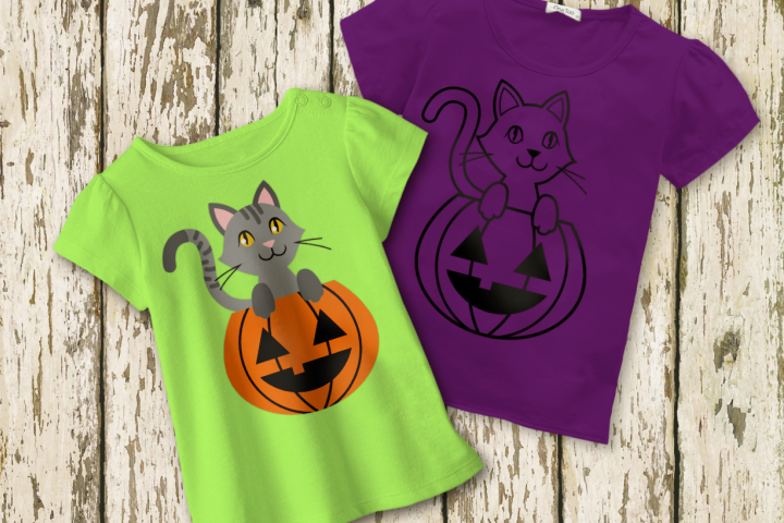 Halloween Pumpkin Cat SVG Design