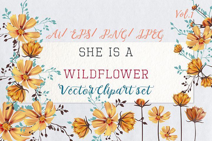 She is wildflower, vector clip art set