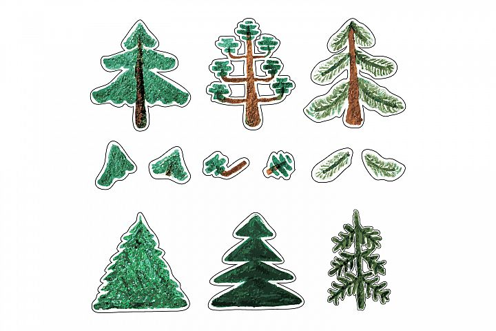Trees-with-fluffy-paws-and-coniferous-trees-with-hollow-crow