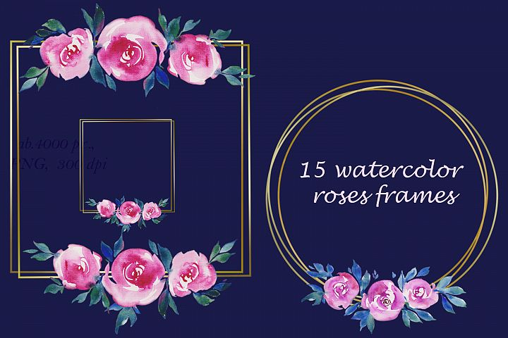 golden frames with watercolor pink roses flowers Clipart