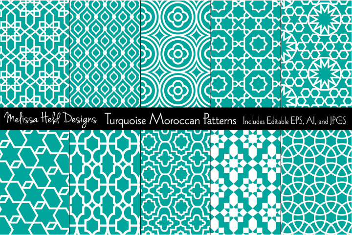 Turquoise Blue Moroccan Patterns
