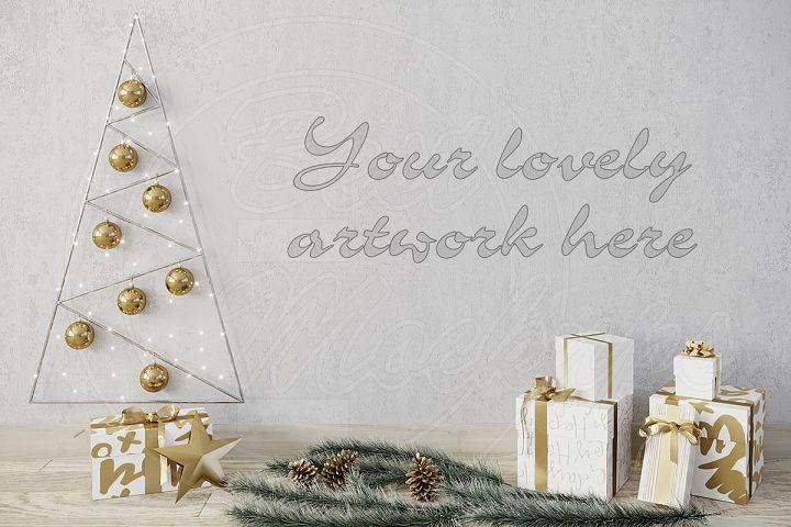 Christmas blank wall mockup template