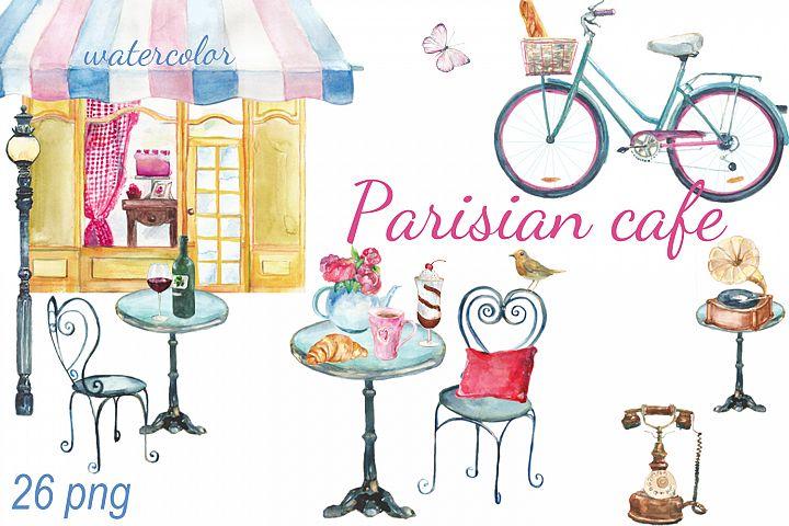Watercolor Parisian cafe clip art