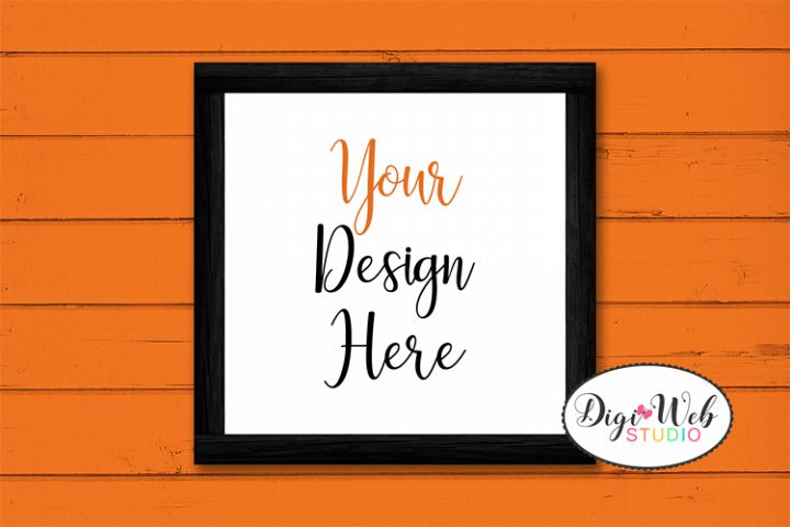 Wood Sign Mockup - Halloween Mix Black Wood Frame on Shiplap