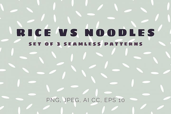 Rice vs Noodles seamless patterns set
