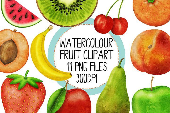 Watercolor Fruit Clip Art Set
