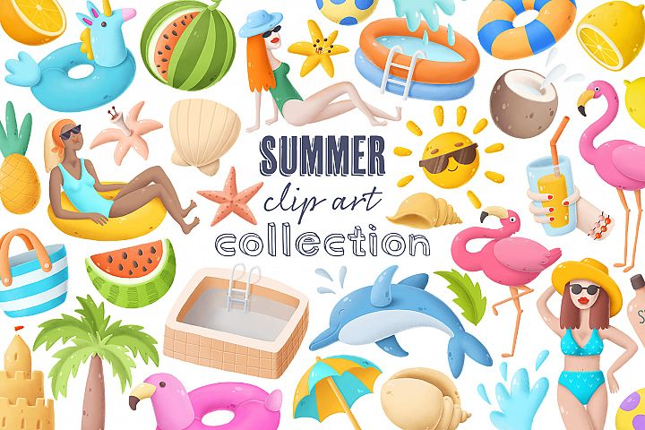 Summer clip art collection